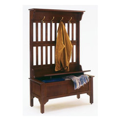 HomeStyles - Hall Tree in Cherry Finish - This solid wood bench also features a beautiful hall tree hutch with hooks for coats, hats and mittens.  The rich cherry finish adds a splash of color and the hooks provide lots of space to hang coats and accessories.  The bench opens to reveal a large storage bin that is great for extra coats, blankets or boots and shoes.  This cherry finished hall tree is clean lined, suitable for a traditional or contemporary home, and offers substantial storage.  A shelf on top can hold hats, collectibles and more, or even display your green thumb with plants. * Full lift top storage bench with safety hinge. Four large brass hooks for hanging coats and hats. Clear coat finish helping to protect against wear from normal use. Made from Asian solid hardwood. Made in Thailand. 40.5 in. W x 18 in. D x 64 in. H. Assembly InstructionsOur handsomely designed hall tree will provide convenient storage for the hallway, mud room, great room or even the kitchen! Storage provided beneath the hinged seat is welcomed in any home.