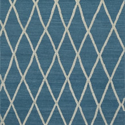 "Loloi Rugs - Loloi Rugs Adler Collection - Azure, 9'-3"" x 13' - The Adler Collection pushes traditional flat-weaves to new heights. Its innovative high/low texture elevates the wool to form a pronounced pattern and faintly Moroccan style look. Hand-woven of 100% wool in India, Adler is available in a cool, on trend set of neutral colors."