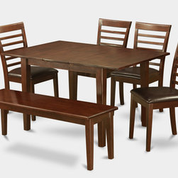 """East West Furniture - Milan 6Pc Set with Dining Table and 4 Milan Leather Chairs and Dudley Bench - Milan 6Pc Set with Rectangular Table Featured 12 In Butterfly Leaf and 4 Faux Leather Seat Chairs and 52-In Long Bench; Rectangular dining table is designed in contemporary style with clean angles and sleek lines.; Table and chairs are crafted of fine Asian solid wood for quality and longevity.; Chairs are available with either wooden seats or upholstered seats to suit preference and desired motif.; Table features a standard butterfly leaf for convenient extension.; Ladder back chair style is sturdy, durable, and is ideal for classic decor in any kitchen or dining room.; Dinette sets are available in either rich Mahogany or exquisite Saddle Brown finish.; Weight: 175 lbs; Dimensions: Table: 42 - 54""""L x 36""""W x 29.5""""H; Chair: 18""""L x 17.5""""W x 38""""H""""H; Bench: 52""""L x 16""""W x 18""""H"""