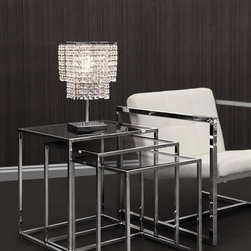 MODERN CHROME AND GLASS NESTING TABLE PASOS -