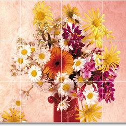 Picture-Tiles, LLC - Flower Picture Ceramic Tile Mural F082 - * MURAL SIZE: 24x32 inch tile mural using (12) 8x8 ceramic tiles-satin finish.