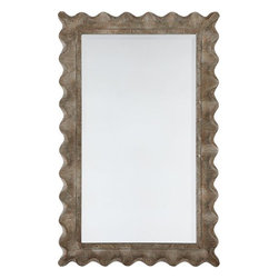 Scallop Edge Mirror - Add some warmth and shapely curves to a stark bathroom with a wavy timber framed mirror. Love that scalloped edge.
