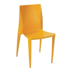 Fine Mod Imports - Angles Plastic Dining Chair Yellow - Comfortable dining chair. Molded ABS frame.