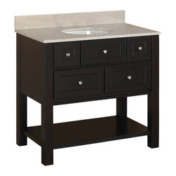 Brown Espresso Hagen Bath Vanity With Top - I'm drawn to darker wood finishes and nontraditional cabinetry. And I'll be honest, I like vanities that include a top because, well, I'm a bargain shopper and I want to get the most bang for my buck. This Hagen vanity in brown checks all of those boxes. I love the drawers, but I also love the extra space below the sink for storing towels and other accessories in fun wicker baskets.