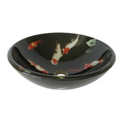 Novatto - Novatto TID-195 Koi Fish Glass Vessel Sink, 16.5-Inch Diameter - Combine quality and design with a unique glass vessel from Novatto. As an industry leader in glass vessels, Novatto uses advanced technology to produce beautiful glass vessel sinks with unmatched structural integrity and longevity. Constructed of thick 3/4 inch high tempered glass, Fiche is a double-layered round vessel sink with a design of koi fish on a dark background. Tempered glass cannot be compared to everyday synthetic porcelain and ceramics. Internal testing has found these vessels to be very durable and forgiving. Made with the highest standards of quality and creative design, Novatto sinks add art and function to any bath or powder room.