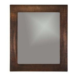 "Premier-Copper-Products - 36"" Rectangle Copper Mirror - MFREC3631 Premier Copper Products 36 Inch Hand Hammered Rectangle Copper Mirror"