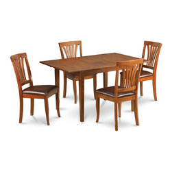 """East West Furniture - Milan 5Pc Set with Dining Table and 4 Avon Faux Leather Seat Chairs - Milan 5Pc Set with Rectangular Table with 12 In Butterfly Leaf and 4 Faux Leather Seat Chairs; Rectangular dining table is designed in contemporary style with clean angles and sleek lines.; Table and chairs are crafted of fine Asian solid wood for quality and longevity.; Chairs are available with either wooden seats or upholstered seats to suit preference and desired motif.; Table features a standard butterfly leaf for convenient extension.; Ladder back chair style is sturdy, durable, and is ideal for classic decor in any kitchen or dining room.; Dinette sets are available in either rich Mahogany or exquisite Saddle Brown finish.; Weight: 147 lbs; Dimensions: Table: 42 - 54""""L x 36""""W x 29.5""""H; Chair: 18""""L x 17""""W x 38.5""""H"""