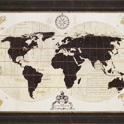 """Paragon Decor - Vintage World Map Artwork - Liven up those boring walls with this interesting """"Vintage World Map"""" piece. This piece depicts a vintage world map projection of silhouettes of the continents spread atop vintage French scripts, giving this it a very classic elegance. """"Vintage World Map"""" would look incredible above an antique bed or on a wall in a library or study. This piece measures 44 inches wide by 1 inch deep by 43 inches wide. This piece measures 44 inches wide, 1 inch deep, and 33 inches high."""