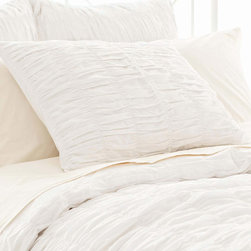 Pine Cone Hill - PCH Smocked White Pillow Sham - Loaded with texture, the Smocked pillow sham boasts beloved dressmaker detailing in its ruched facade. The soft and chic PCH bed linen by PCH offers a versatile palette in pure white. Available in standard and euro; 100% cotton; Tie closure; Designed by Pine Cone Hill, an Annie Selke company; Machine wash