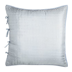 "Designers Guild - Quilted Silk European Sham 26""Sq. - SKY/CHALK - Designers GuildQuilted Silk European Sham 26""Sq.DetailsHand stitched.Reversible.Finished with contrast cross stitch detail.Made of silk.Machine wash.26"" x 26"".Imported."