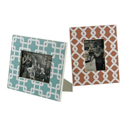 Sterling Industries - Set Of 2 Chevron Print Picture Frames - Set Of 2 Chevron Print Picture Frames