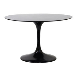 Black Tulip Table - The classic tulip table gets a decidedly dark makeover! This one is done in chic black fiberglass, making it a lightweight and super-tough choice for trendy, high-traffic dining spaces.