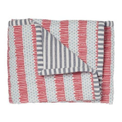 Pehr Designs - Blue, Red Quilted Nursery Blanket - The 100% quilted cotton and yarn dyed stripe blanket is destined to be the family favorite blankie. Quilted front, yearn dyed stripe reverse.