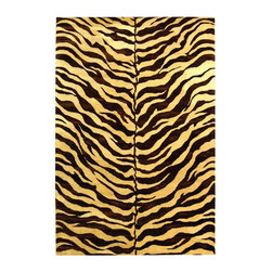 Safavieh - Rectangular Wool Zebra Print Rug (6 ft. x 9 ft.) - Size: 6 ft. x 9 ft.. Hand tufted. Made of WoolThe Bergama Collection includes beautiful reproductions which are hand-tufted to create the same symmetrical knots used in the antique rugs in Safavieh's private archival collection of Peshawar rugs. Made in India, the pure wool rugs in this collection recreate the design and quality of Peshawars made for the top end of the market to a broader base of customers with superior hand tufted quality.