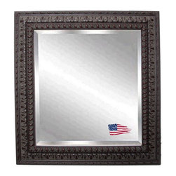 Rayne Mirrors - American Made Rayne Embellished Dark Mahogany Wall Mirror - Display elaborate grandeur by decorating with this embellished dark mahogany beveled wall mirror.  The abundance of details and architectural elements of this frame will spark conversation and interest in your living space. Rayne's American Made standard of quality includes; metal reinforced frame corner support, both vertical and horizontal hanging hardware installed and a manufacturers warranty.