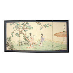 Oriental Unlimited - 36 in. Tall Gift of the Flower Wall Art Silk - Screens may vary slightly in color. Gift of the Flower is a lovely painting featuring 2 ladies among the blossoming branches of a tree. Subtle and beautiful hand-painted wall art for a fraction of the cost of a comparable print. Large hand-painted ink and watercolor silk screen. Song dynasty (10th century China) brush art style. Can be displayed as a privacy screen. Can be folded partly to stand upright on a table or floor. Crafted from silk covered paper, glued over 4 side-by-side lacquered wood frames. Matted with a fine Chinese silk brocade border. Comes with lacquered brass geometric hangers for easy mounting. Note that no 2 renderings are exactly the same. 72 in. W x 0.63 in. D x 36 in. H