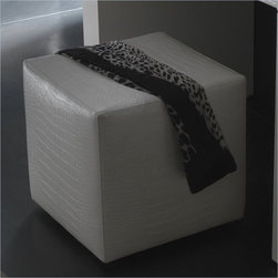 Rossetto Furniture - Nightfly White Pouf - 412700010068P - Crocodile Leather Effect Upholstery Details