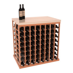 Double Deep Tasting Table Wine Rack Kit + Butcher Block Top in Redwood with Sati - The quintessential wine cellar island; this wooden wine rack is a perfect way to create discrete wine storage in open floor space. Includes a culinary grade Butcher's Block top. With an emphasis on customization, install LEDs to create an intimate wine tasting setting. We build this rack to our industry leading standards and your satisfaction is guaranteed.