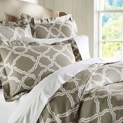 Kendra Trellis Duvet Cover, Full/Queen, Brownstone - For a bold yet classic look, our two-tone bedding is a refreshing update. Made of a linen/cotton blend. Duvet cover and sham reverse to self. Duvet cover has interior ties and a button closure; sham has an envelope closure. Duvet cover, sham and insert sold separately. Machine wash. Imported.