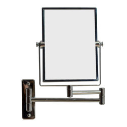 American Imaginations - 5-in. W x 13-in. H Rectangle Chrome Wall Mount Magnifying Makeup Mirror - This elegant 5 x 13 inch rectangle wall mount magnifying mirror is a perfect addition to any bathroom. It includes a dual 1x/5x zoom. 5 in. W x 13 in. H rectangle magnifying makeup mirror polished chrome finish. 360 degree swivel. This Magnifying Mirror features Chrome hardware. CE and RoHS certified, Quality control approved in Canada and re-inspected prior to shipping your order