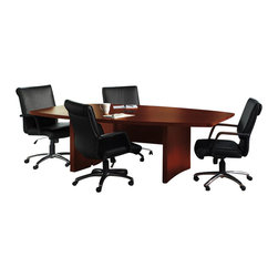 Mayline - Mayline Aberdeen Boat Shaped Conference Table with Slab Base in Cherry-6' - Mayline - Conference Tables - ACTB6LCR -The Aberdeen Series of laminate casegoods combine fashionable aesthetics and unparalleled quality all in a package that is surprisingly affordable. Aberdeen's transitional style allows it to fit into any environment whether it be modular multi-station work areas or executive offices. Aberdeen provides exceptional abrasion and stain resistance along with technology and cable friendly components.