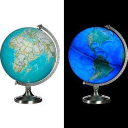 National Geographic Bowers Illuminated 12-in. diam. Tabletop Globe - A classic design with a twist the National Geographic Bowers Illuminated 12-in. diam. Tabletop Globe will shed light on your student's curious nature. With its solid metal base this 12-inch diameter globe makes the perfect gift for your child or classroom. Running on four AAA batteries (included) and lit up by 10 LED lights this globe features thousands of place names. About National GeographicFounded in 1888 the National Geographic Society is one of the largest nonprofit scientific organizations in the world today. With a focus on education and a mission that involves increasing geographic knowledge while promoting conservation of resources National Geographic funds and supports educational programs in every country. Products like National Geographic globes help support these missions with funding. National Geographic globes are among the finest ever offered. Combining beauty and functionality these extraordinary globes are built to last. They have been developed by a skilled team of designers and cartographers. No one knows the world like National Geographic.