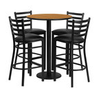 Flash Furniture - Flash Furniture Restaurant Furniture Table and Chairs X-GG-3201BRSR - 30'' Round Natural Laminate Table Set with 4 Ladder Back Metal Bar Stools - Black Vinyl Seat [RSRB1023-GG]
