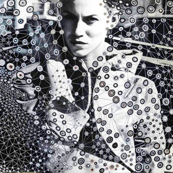 Sacred Geometry Mixed Media Pattern Fashion Prints - ORIGINAL BLACK AND WHITE PHOTOGRAPHY, freehand paint markers used to draw sacred geometry intuitive pattern on the surface of the photograph