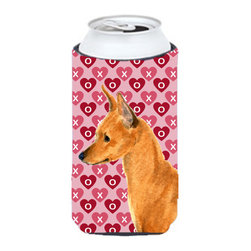 Caroline's Treasures - Min Pin Hearts Love and Valentine's Day Portrait Tall Boy Koozie Hugger - Min Pin Hearts Love and Valentine's Day Portrait Tall Boy Koozie Hugger Fits 22 oz. to 24 oz. cans or pint bottles. Great collapsible koozie for Energy Drinks or large Iced Tea beverages. Great to keep track of your beverage and add a bit of flair to a gathering. Match with one of the insulated coolers or coasters for a nice gift pack. Wash the hugger in your dishwasher or clothes washer. Design will not come off.