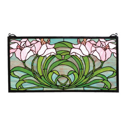 "Meyda Tiffany - 22""W X 11""H Calla Lily Stained Glass Window - Soft Petal Pink lilies atop Spring Green leaves form a circle on a sky of Dusky Blues in this nature inspired stained glass window. The rectangular Meyda Tiffany original window is framed in solid brass and has brass mounting bracket and chains included."