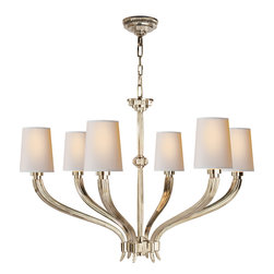 Ruhlmann Large Chandelier - A timeless chandelier brings elegance and class to any room in the house. Hang this timeless piece in your dining room or entryway for a warm glow of light every time you flick the switch. Choose from burnished brass or polished nickel to complement your home's aesthetic.
