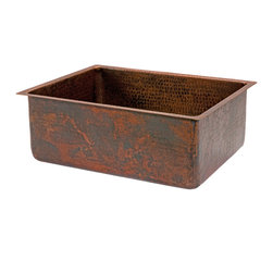 "Premier Copper Products - 25"" Hammered Copper Kitchen Single Basin Sink - 25"" Hammered Copper Kitchen Single Basin Sink"