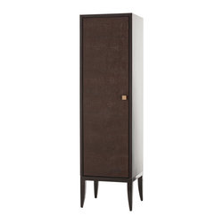 Kathy Kuo Home - Elle Chocolate Crocodile Embossed Leather Single Door Tall Cabinet - The rich details go on and on in this exceptionally styled contemporary cabinet. From the supple chocolate crocodile embossed leather exterior, to the orange upholstered interior, to the glass shelving and recessed lighting, this single door cabinet is ready to cradle and showcase your beloved treasures. With a streamlined, lacquered silhouette, this cabinet is the perfect addition to your modern home or urban loft.