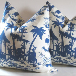 Chinoiserie Pillow Covers, Canton Bazaar by Studio Tullia - A pair of pillows in Robert Allen's Canton Bazaar fabric is a chic way to add chinoiserie to a bed or sofa.