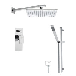 Remer - Shower Faucet with Sliding Rail, Matte Black - A wall contemporary shower faucet that is made in brass and coated with matte white, matte black, chrome, gold, old copper, old brass, oil bronze, or satin nickel.