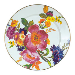 Flower Market Enamel Charger/Plate - White | MacKenzie-Childs - Set a sunny table in glorious color, fresh from a country garden with Flower Market Enamel Chargers. The garden-fresh design is color glazed and hand-decorated with floral transfers, on both front and back. Mix and match all five colors—green, blue, black, white, and plum, or pair with Courtly Check® for a fun, fresh look. For a stunning arrangement, choose a single color for the entire table.