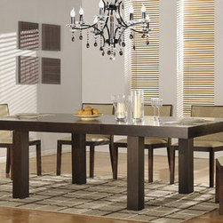 """Hokku Designs - Resolve 6 Piece Dining Set - Features: -Dining room set includes dining table and five chairs. -Resolve collection. -Ash veneer in an Espresso finish. -Construction: Wood solids and veneer on medium density fiberboard. -Solid wood and MDF panel construction. -With hideaway tray for extension leaf. -Dining chairs feature polyurethane seat upholstery. -Dining chairs come pre-assembled with contoured backrest and hind legs. -Manufacturer provides one year warranty. -Additional buffet (featuring a sliding glass door) is optional. Dimensions: -Dining Table: 30"""" H x 78 - 103"""" W x 43"""" D. -Side Chair: 33.5"""" H x 20"""" W x 22"""" D."""
