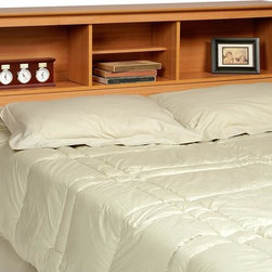 Prepac - Bookcase Headboard w Storage Compartments - Shelves are divided four ways for display, storage and space for an alarm clock.  Comes in an enticing Maple color.  Keep your favorite reading materials always within reach on this headboard for any full sized bed.  Its profiled top offers a large shelf for items, in addition to three 11 inch deep cubbies with ample space.  They're also excellent choices for a dorm or guest room. Suitable for both full and queen-sized beds. Three storage compartments. Adjustable shelf in center compartment. Warranty: Five years. Made from CARB-compliant, laminated composite woods and sturdy MDF backer. Made in North America. Minimal assembly required. Side compartments: 21.5 in. W x 9.25 in. D x 11.25 in. H. Center compartment: 16.75 in. W x 9.25 in. D x 11.25 in. H. Overall: 65.75 in. W x 11 in. D x 43 in. HAdd a finishing touch and storage space to your bedroom with the Full/Queen Bookcase Headboard. Finally, a place to store and display your books, alarm clock and picture frames!