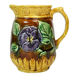None visible - Consigned Majolica Water Jug with Moulded Flowers - Tactile majolica water jug with colourful glaze over moulded flowers; antique English Victorian, circa 1900.