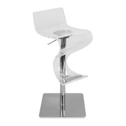 Lumisource - Viva Clear Acrylic Bar Stool - Curvaceous bar stool adds instant movement and swing to any room and lends an upscale look to any home bar. Sleek and modern, bar stool has an acrylic seat with polished chrome base, pole and accents.