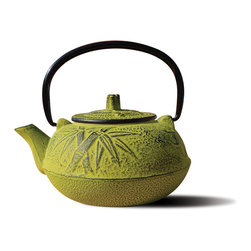 "Moss Green Cast Iron ""Osaka"" Teapot, 20 Oz. - Unity® Cast Iron ""Osaka"" Teapot – Moss Green finish.  An elegant, distinctly shaped  cast iron Tetsubin teapot named after the beautiful and ancient city of Osaka, Japan.  Inspired by highly prized antique Japanese cast iron teapots still in use today. Features a black porcelain enamel interior coating that helps prevent rust. Not intended for stovetop use. 20 oz. capacity."