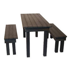 Ordinary Beer set (beer table and two benches) black by Ineke Hans - I like this set for its classic, pub feel. But it takes that traditional wood construction and makes it even more functional by using recycled plastic. It's attractive and practical. Let kids make a mess eating all over, hose it off and set dinner for the adults.