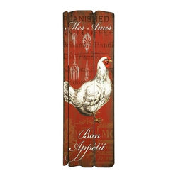 """IMAX CORPORATION - Garcelle Rooster Wall Decor - The Garcelle Rooster Wall Decor is a charming antiqued sign, expertly crafted on wood. Hang in your kitchen or dining room to wish your guests """"Bon Apetit""""!. Find home furnishings, decor, and accessories from Posh Urban Furnishings. Beautiful, stylish furniture and decor that will brighten your home instantly. Shop modern, traditional, vintage, and world designs."""