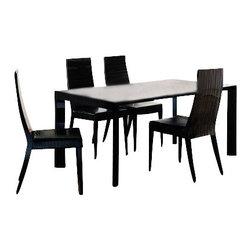Rossetto - Rossetto Nightfly 5 Piece Rectangular Dining Table Set in Ebony - Rossetto - Dining Sets - R4132055431035PcDiningSetPKG