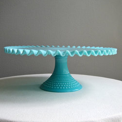 Fenton Turquoise Blue Hobnail Milk Glass Cake Stand by Barking Sands Vintage - I wish I'd never seen this beautiful turquoise milk glass cake stand. It's rare and expensive, and it has me wishing that I could make vintage-inspired chocolate layer cakes every day.