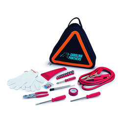 "Picnic Time - Carolina Panthers Roadside Emergency Kit in Black - The Roadside Emergency Kit by Picnic Time will give you peace of mind knowing that you're prepared when an unexpected auto emergency arises. The kit features a triangular-shaped tote with carry handle that doubles as a reflective hazard warning sign and contains essential tools for roadside emergency repair, including: 1 set of jumper cables (8.2-ft long, 15-gauge copper with laminated instructions tag affixed to the cables), 1 heavy-duty plastic ice scraper, 1 tire-pressure gauge, 1 9-piece ratchet set (socket sizes ranging from 3/16"" to 1/2"") with rigid hand driver, 1 pair of standard slip-joint pliers, 1 flathead screwdriver (7-1/4""), 1 Phillips screwdriver (7-1/4""), 1 roll of red electrical tape, blade-style automotive fuses: (1) 10 amp, (2) 15 amp, and (1) 20 amp, 1 pair of white work gloves (woven heavy-duty cotton blend), and insulated ring and spade terminals (3 of each). Makes a great gift for any car owner.; Decoration: Digital Print; Includes: 1 set of jumper cables (8.2-ft long, 15-gauge copper with laminated instructions tag affixed to the cables), 1 heavy-duty plastic ice scraper, 1 tire-pressure gauge, 1 9-piece ratchet set (socket sizes ranging from 3/16"" to 1/2"") with rigid hand driver, 1 pair of standard slip-joint pliers, 1 flathead screwdriver (7-1/4""), 1 Phillips screwdriver (7-1/4""), 1 roll of red electrical tape, blade-style automotive fuses: (1) 10 amp, (2) 15 amp, and (1) 20 amp, 1 pair of white work gloves (woven heavy-duty cotton blend), and insulated ring and spade terminals (3 of each)"