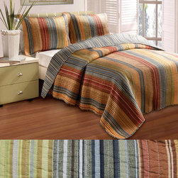 None - Katy 5-piece Full/ Queen-size Quilt Set - Add color to your bedroom with this versatile queen-size quilt set. Its variety of tasteful tones will look great in any bedroom, and if you want a new look, just reverse the quilt to get a blue-striped pattern. Channel quilting makes this set durable.