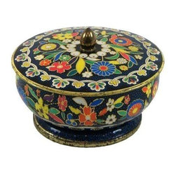 Used Footed Colorful Floral Tin - Nothing could be quite as adorable as this vintage 1960's tin embossed with the sweetest floral design from England. We can totally see Twiggy displaying this piece on her desk or vanity! The primary colors, footed base, and acorn embellished lift lid make this a trendy storage unit/ decorative item with undeniable charm. It's like a Matryoshka nesting doll: Go ahead, store your treasures inside this treasure.
