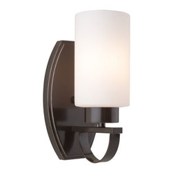 Artcraft - Russell Hill Oil Rubbed Bronze Wall Sconce - - The Russell Hill series has beautiful flowing arms with  clean opal white cylinder shape glassware. Finished in a rich Oil Rubbed Bronze.  - Width - 4.5  - Height - 10 Artcraft - AC3791OB