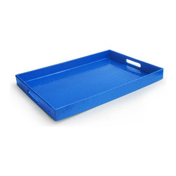 Jay Import Co. - Rectangular Tray, Blue - Add some brightness to your serveware with this fun tray, covered in a snakeskin-esque plastic, making it easy to clean. Sleek and modern, you'll look great carrying this tray out to the patio or for breakfast in bed.